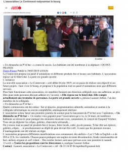 Ouest France 29-03-2019 L'association Le Contrevent redynamise le bourg